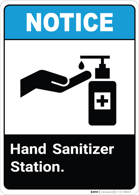 Notice ANSI Hand Sanitizer Station Portrait - Wall Sign