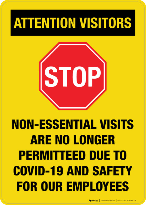 Attention Visitors - Non-Essential Visits Portrait - Wall Sign