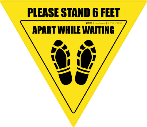 Please Stand 6 Feet Apart While Waiting Shoe Prints Yield