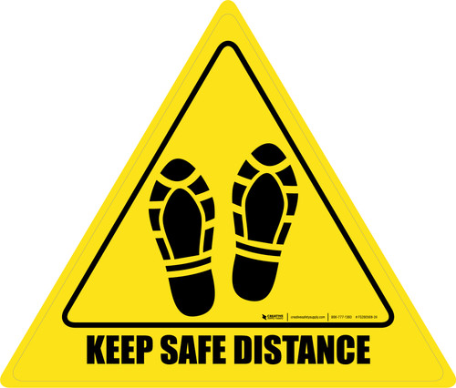 Keep Safe Distance Shoe Prints Triangle - Floor Sign
