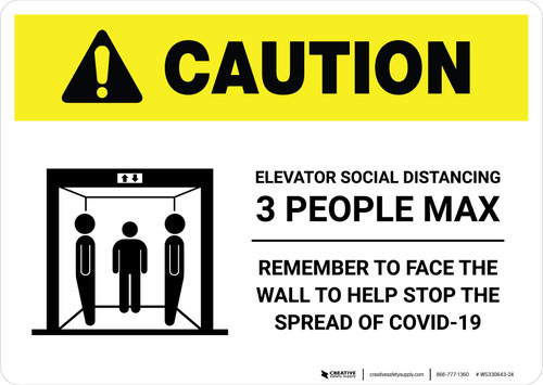 Caution: Elevator Social Distancing 3 People Max Landscape - Wall Sign