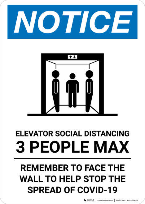 Notice: Elevator Social Distancing 3 People Max Portrait - Wall Sign