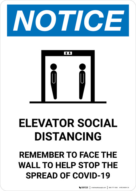 Notice: Elevator Social Distancing - Remember To Face The Wall with Icon Portrait - Wall Sign