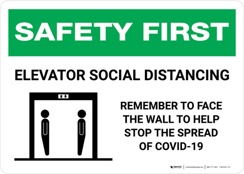 Safety First: Elevator Social Distancing - Remember to Face Wall with Icons Landscape - Wall Sign