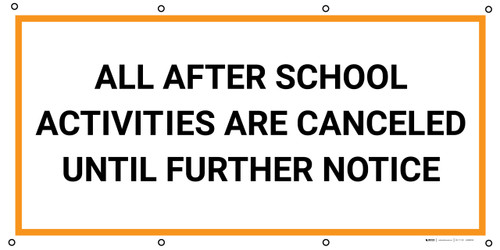 All After School Activites are Canceled Until Further Notice - Banner
