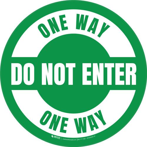 Do Not Enter One Way Circular (Green) - Floor Sign