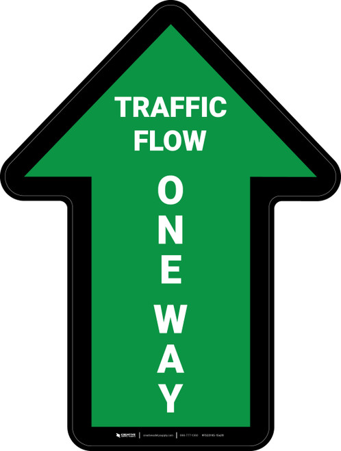 Traffic Flow One Way Arrow Green (Straight) - Floor Sign