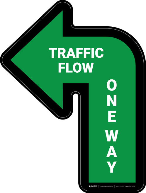 Traffic Flow One Way Arrow Green (Left) - Floor Sign