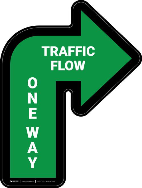 Traffic Flow One Way Arrow Green (Right) - Floor Sign