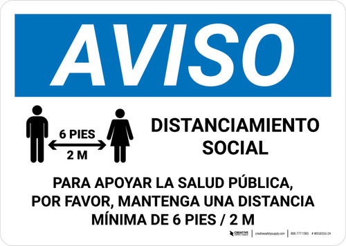 Aviso Distanciamiento Social Spanish with Icon Landscape - Wall Sign