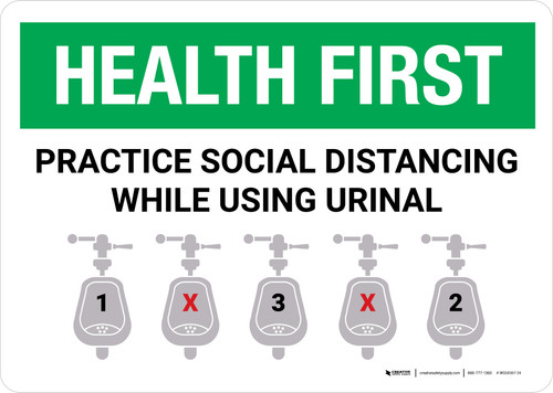 Health First: Practice Social Distancing While Using Urinal with Icon Landscape - Wall Sign