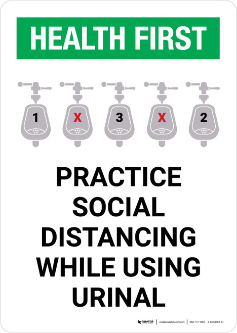 Health First: Practice Social Distancing While Using Urinal with Icon Portrait - Wall Sign