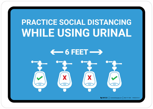 Practice Social Distancing While Using Urinal 6 Ft with Icon Blue Landscape - Wall Sign