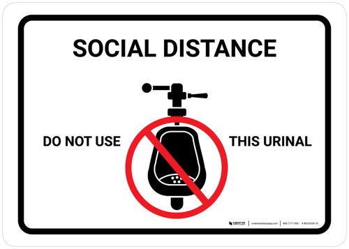 Social Distance: Do Not Use This Urinal with Icon Landscape - Wall Sign