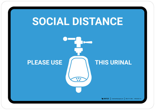 Social Distance: Please Use This Urinal with Icon Blue Landscape - Wall Sign