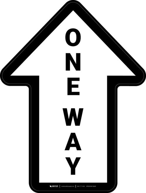 One Way White Arrow (Straight) - Floor Sign
