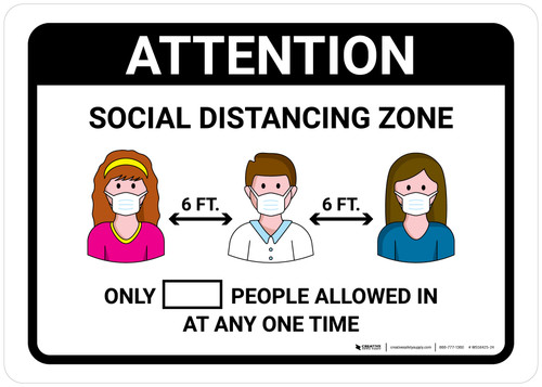 Attention Social Distancing Zone with Icons Landscape - Wall Sign