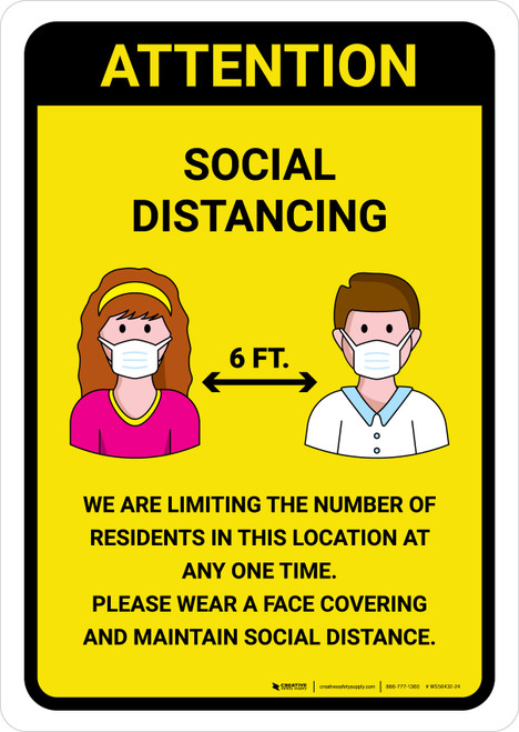 Attention We Are Limiting Number Of Residents with Icons Yellow Portrait - Wall Sign