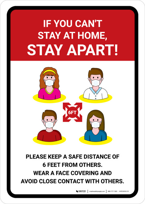 If You Can't Stay At Home Stay Apart with Icons Portrait - Wall Sign