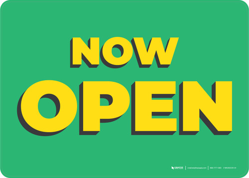 Now Open Green/Yellow Landscape - Wall Sign