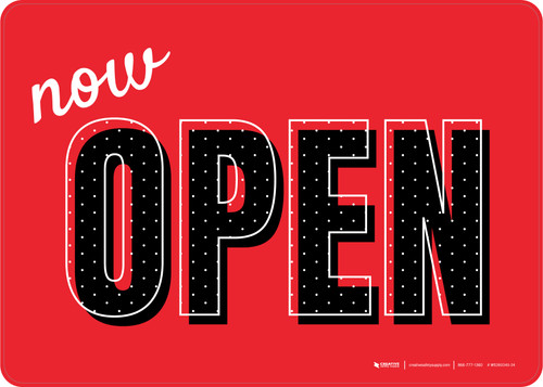 Now Open Red/Black Polka Dots Landscape - Wall Sign