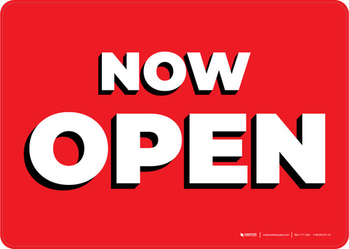 Now Open Red/White Landscape - Wall Sign
