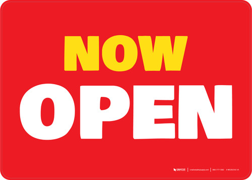 Now Open Red/Yellow Landscape - Wall Sign