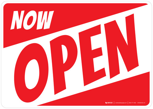 Now Open White/Red Landscape - Wall Sign