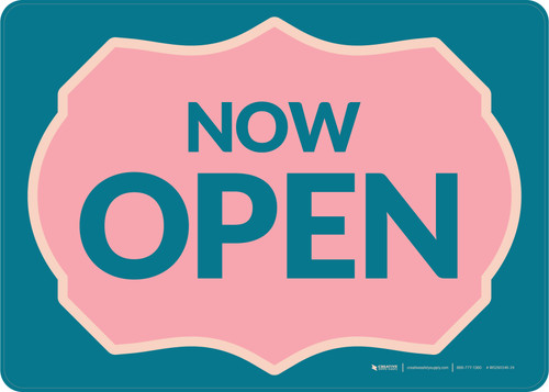 Now Open with Frame Blue/Pink Landscape - Wall Sign