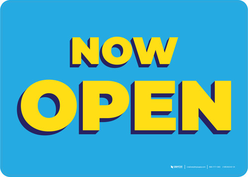 Now Open Yellow/Blue Landscape - Wall Sign
