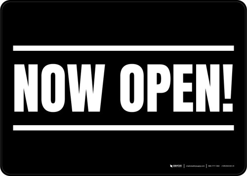 Now Open! Black/White Landscape - Wall Sign