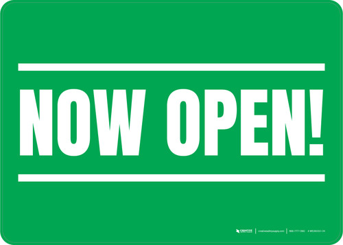 Now Open! Green/White Landscape - Wall Sign