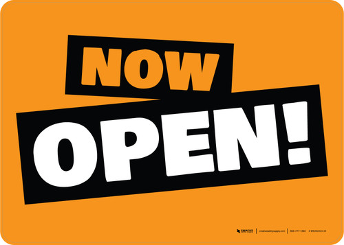 Now Open! Orange/Black/White Landscape - Wall Sign
