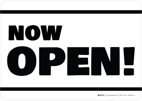 Now Open! White/Black Landscape - Wall Sign