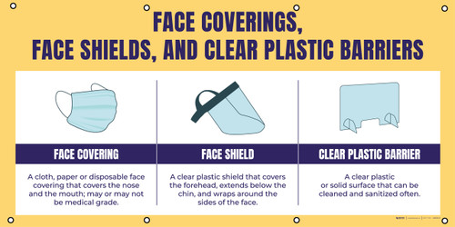Face Coverings Face Shields And Clear Plastic Barriers with Icons Orange - Banner