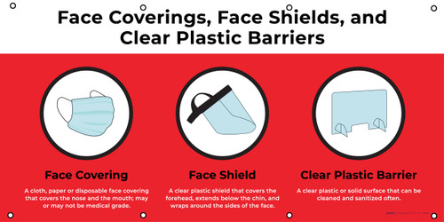 Face Coverings Face Shields And Clear Plastic Barriers with Icons Red - Banner