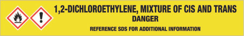1,2-Dichloroethylene, mixture of cis and trans [CAS# 540-59-0] - GHS Pipe Marking Label