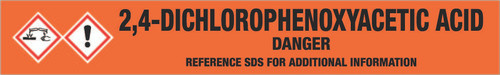 2,4-Dichlorophenoxyacetic acid [CAS# 94-75-7] - GHS Pipe Marking Label