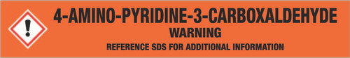 4-Amino-pyridine-3-carboxaldehyde [CAS# 42373-30-8] - GHS Pipe Marking Label