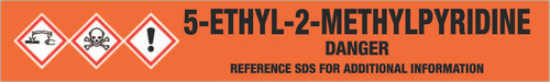 5-Ethyl-2-methylpyridine [CAS# 104-90-5] - GHS Pipe Marking Label