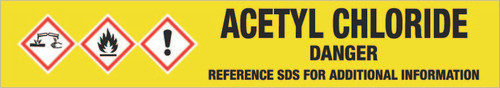 Acetyl Chloride [CAS# 75-36-5] - GHS Pipe Marking Label