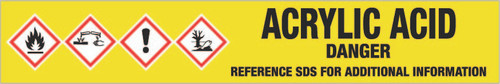Acrylic Acid [CAS# 79-10-7] - GHS Pipe Marking Label