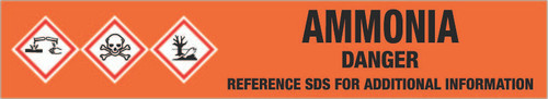 Ammonia [CAS# 7664-41-7] - GHS Pipe Marking Label