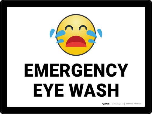 Emergency Eye Wash with Emoji Landscape - Wall Sign