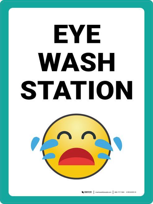 Eye Wash Station with Emoji Portrait - Wall Sign