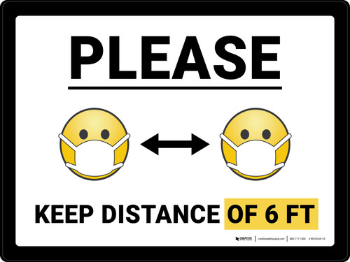 Please Keep Distance of 6 ft with Emojis Landscape - Wall Sign
