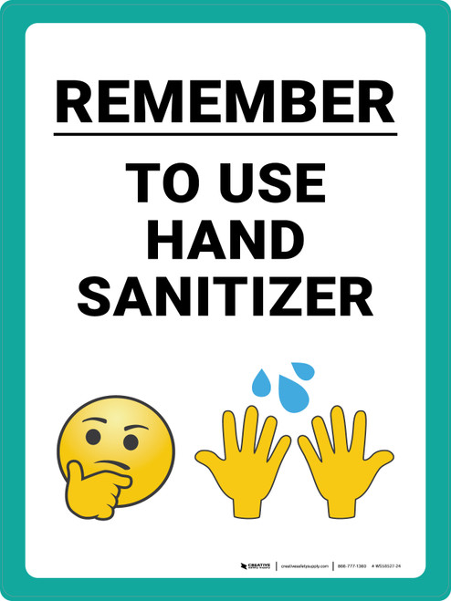 Remember to Use Hand Sanitizer with Emojis Portrait - Wall Sign