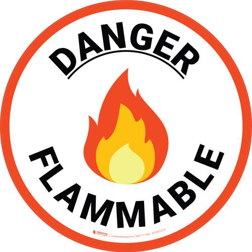 Danger Flammable with Emoji Orange Border Circular - Floor Sign