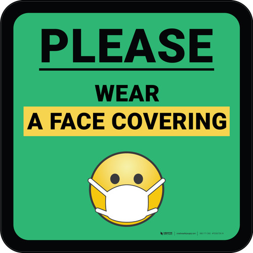 Please Wear A Face Covering Mask Emoji with Emoji Green Square - Floor Sign