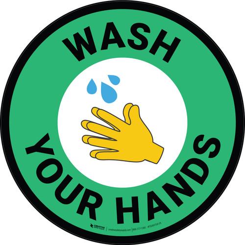 Wash Your Hands with Emoji Green Circular - Floor Sign